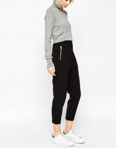WHITE Bonded Crepe Trousers 3