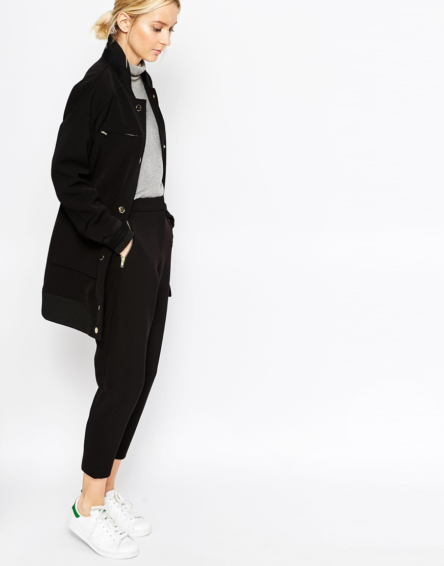 WHITE Bonded Crepe Trousers 4