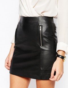 Warehouse Premium Leather Zip Detail Skirt 03