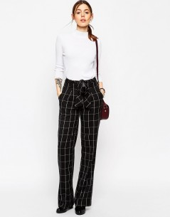 Wide Leg Trousers in Mono Grid Check with OBI Tie 4