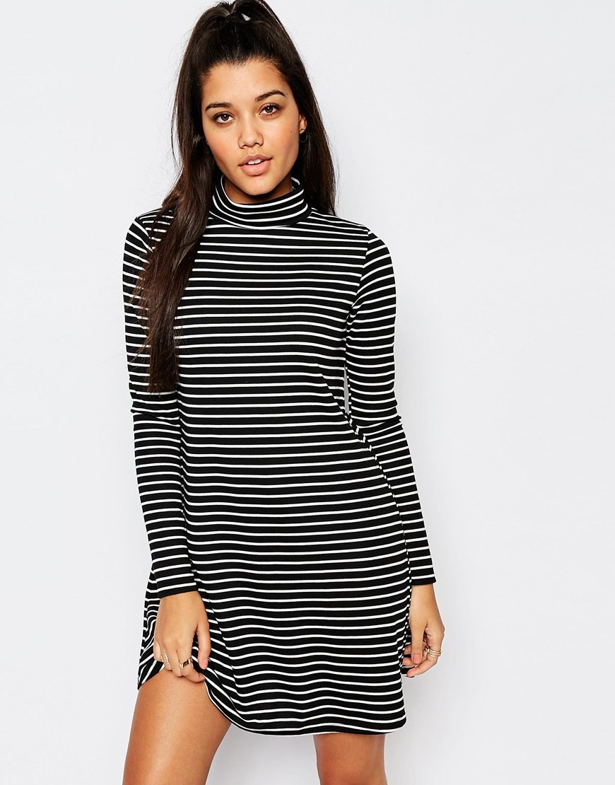 Missguided Long Sleeve Roll Neck Stripe Swing Dress Ootd