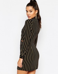 Missguided Tie Front Cut Out Stripe Shirt Dress 01