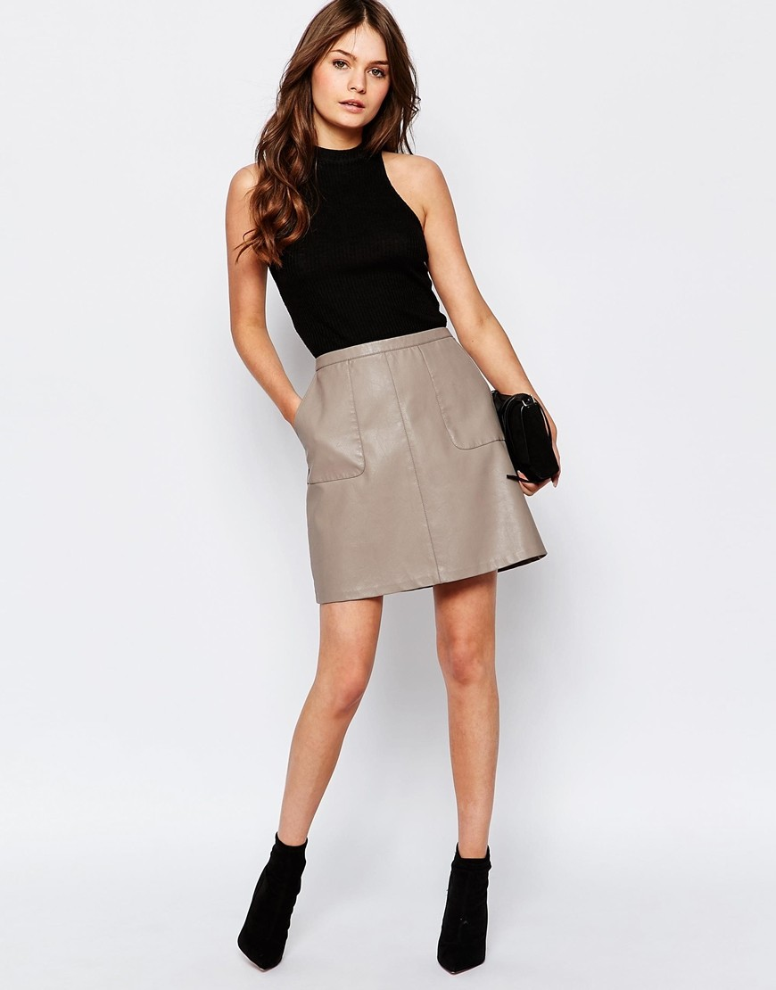 Official Website outstanding features select for best New Look Faux Leather A-Line Skirt   OOTD