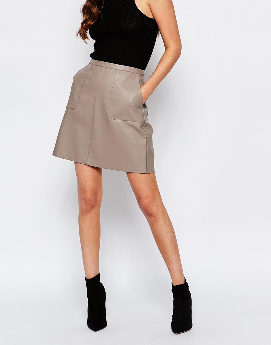 New Look Faux Leather A-Line Skirt | OOTD