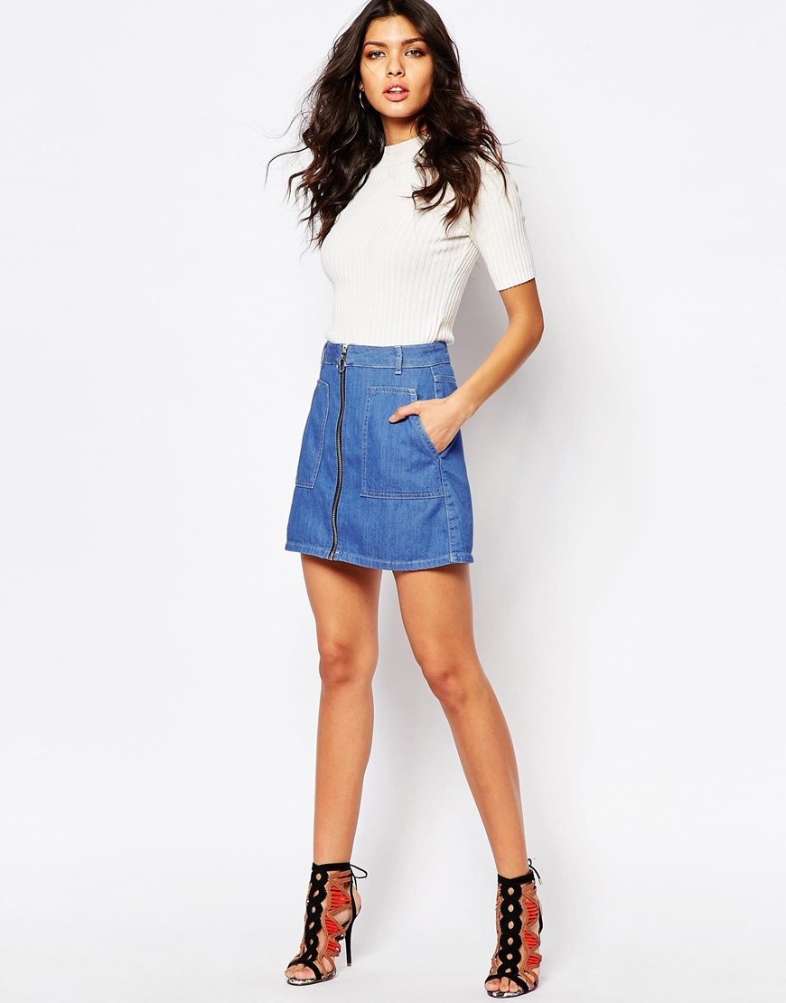 River Island Zip Through Denim Skirt | OOTD