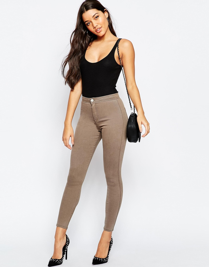 Rivington High Waisted Denim Jeggings in Walnut Brown Wash | OOTD
