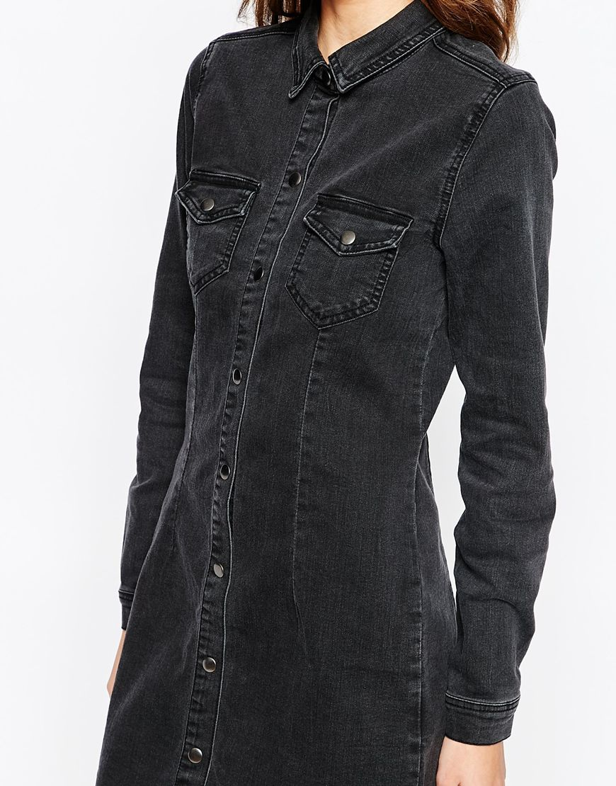 Vila Washed Black Denim Dress Ootd