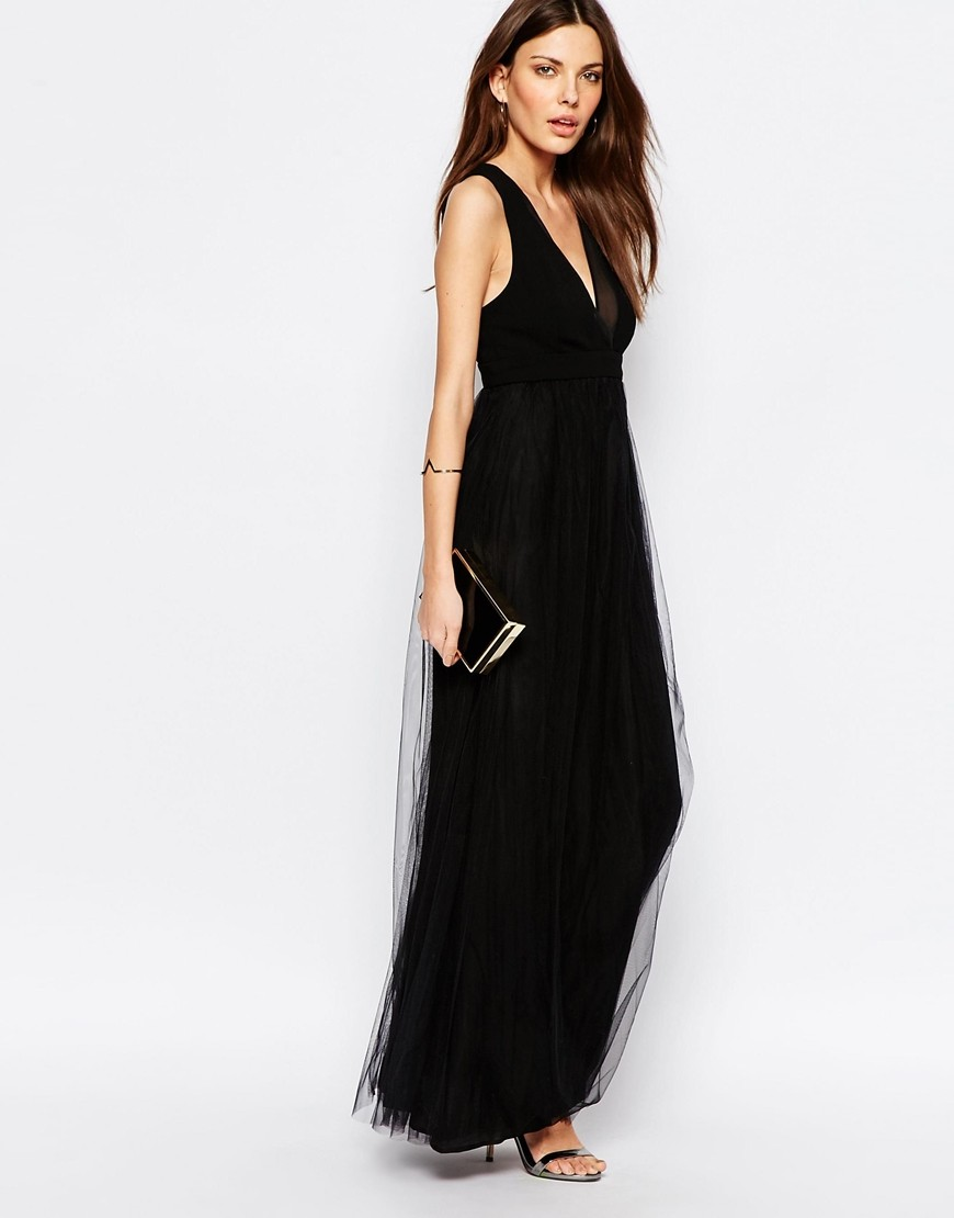 Bcbgeneration Tulle Maxi Dress In Black Ootd