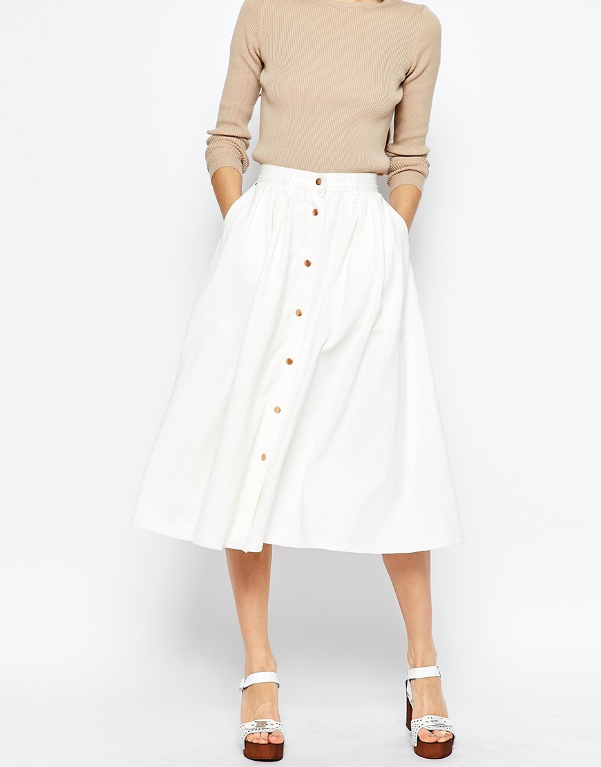 Denim High Waisted Button Through Midi Skirt In White Ootd
