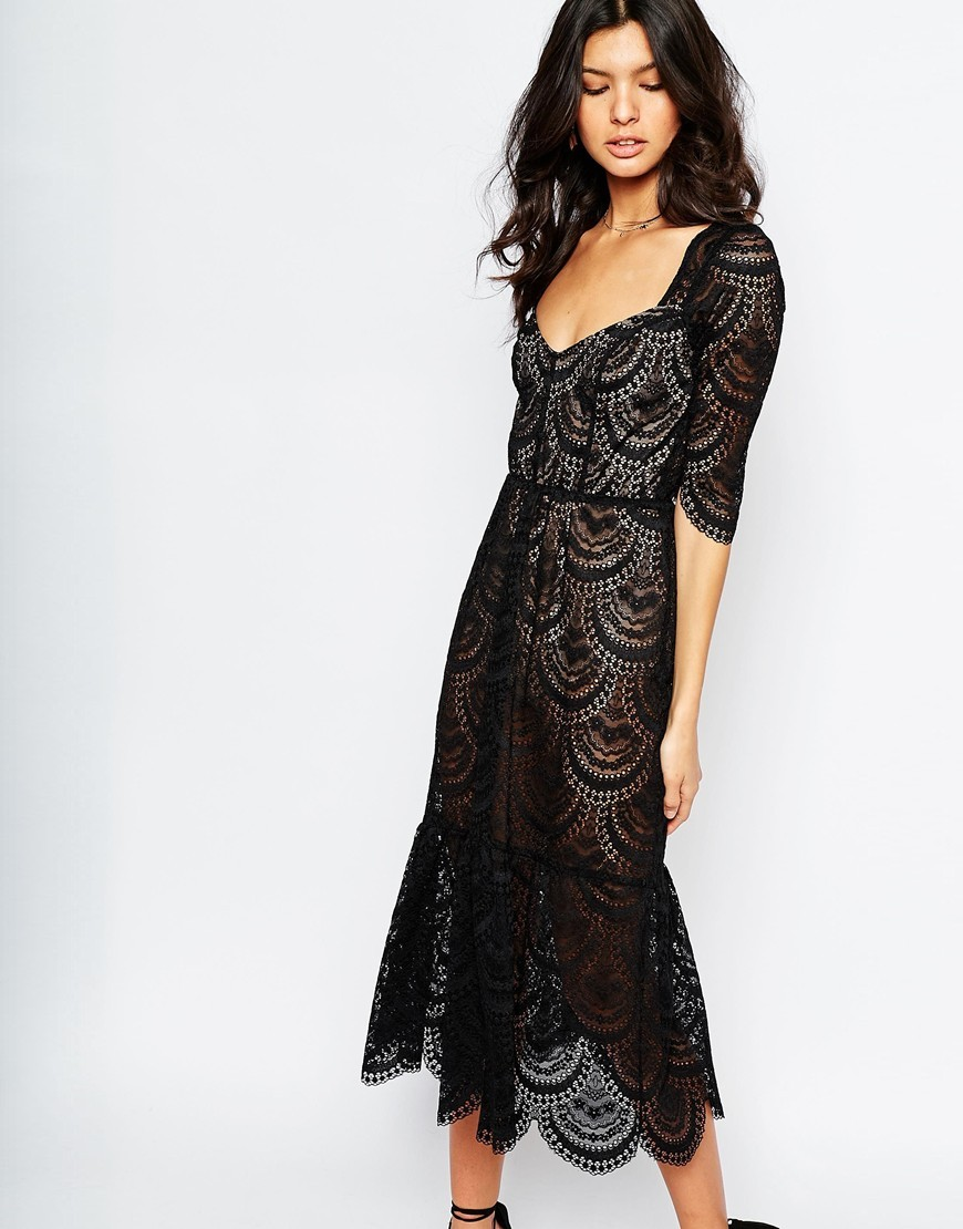3578a4d522006 For Love and Lemons Rosalita Midi Dress in Black Lace. Previous; Next