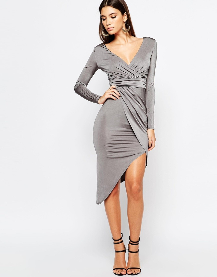 Lipsy Long Sleeve Slinky Asymmetric Dress With Wrap Front