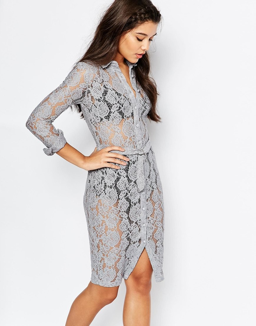 fb2e99cfd7e4 Missguided Lace Shirt Dress. Previous  Next