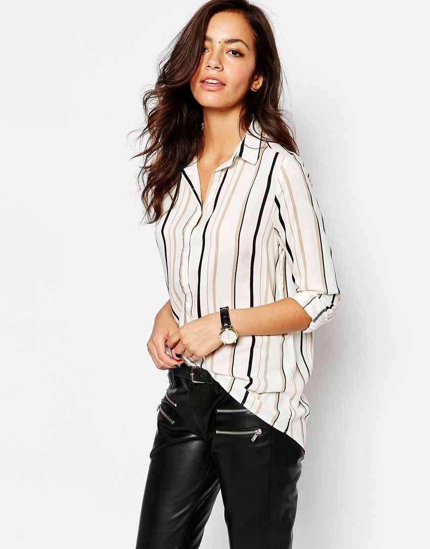 Womens Pinstripe Frayed Hem Long Sleeve Shirt New Look Buy Cheap Release Dates With Mastercard Cheap Price Get To Buy Sale Online Cheap Sale Release Dates Store Cheap Online IP5VP5
