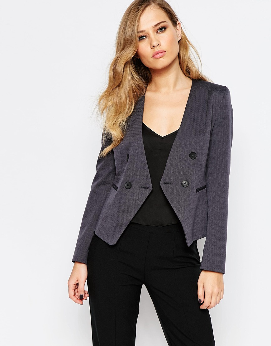 Sisley Cropped Blazer in Charcoal 4