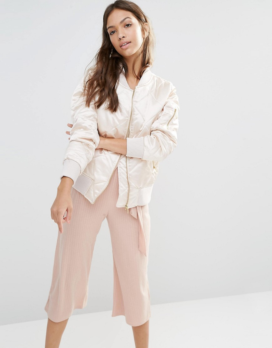 Boohoo Quilted Satin Bomber Jacket 01