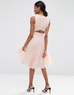 Sheer And Solid Pleated Midi Dress 01