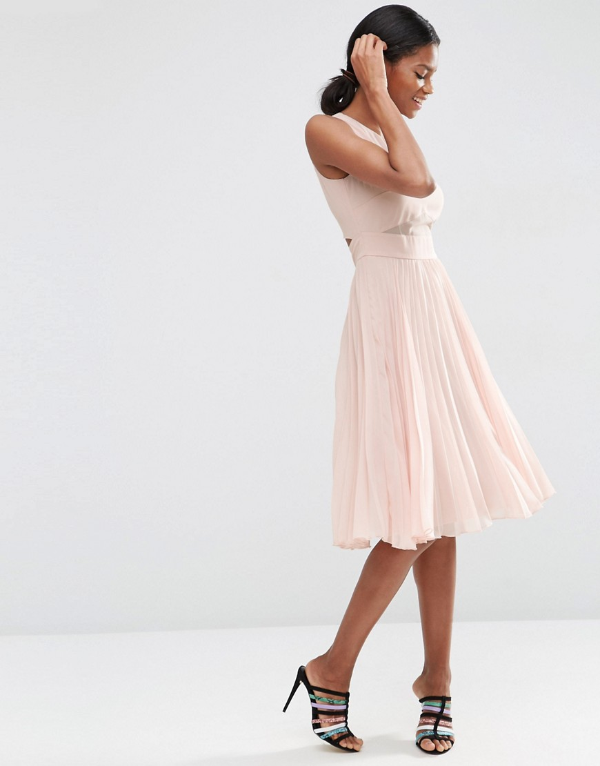 Sheer And Solid Pleated Midi Dress 03