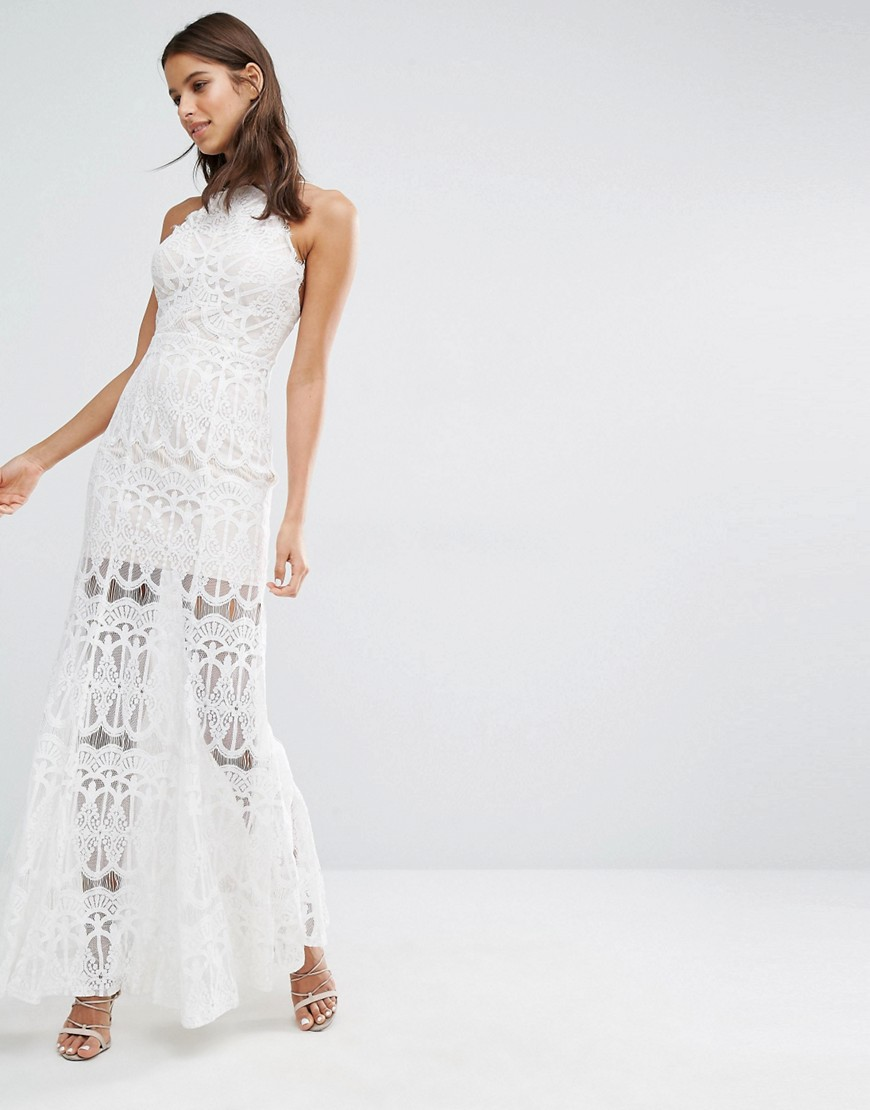 fee95125fe75 Missguided High Neck Premium Lace Maxi Dress