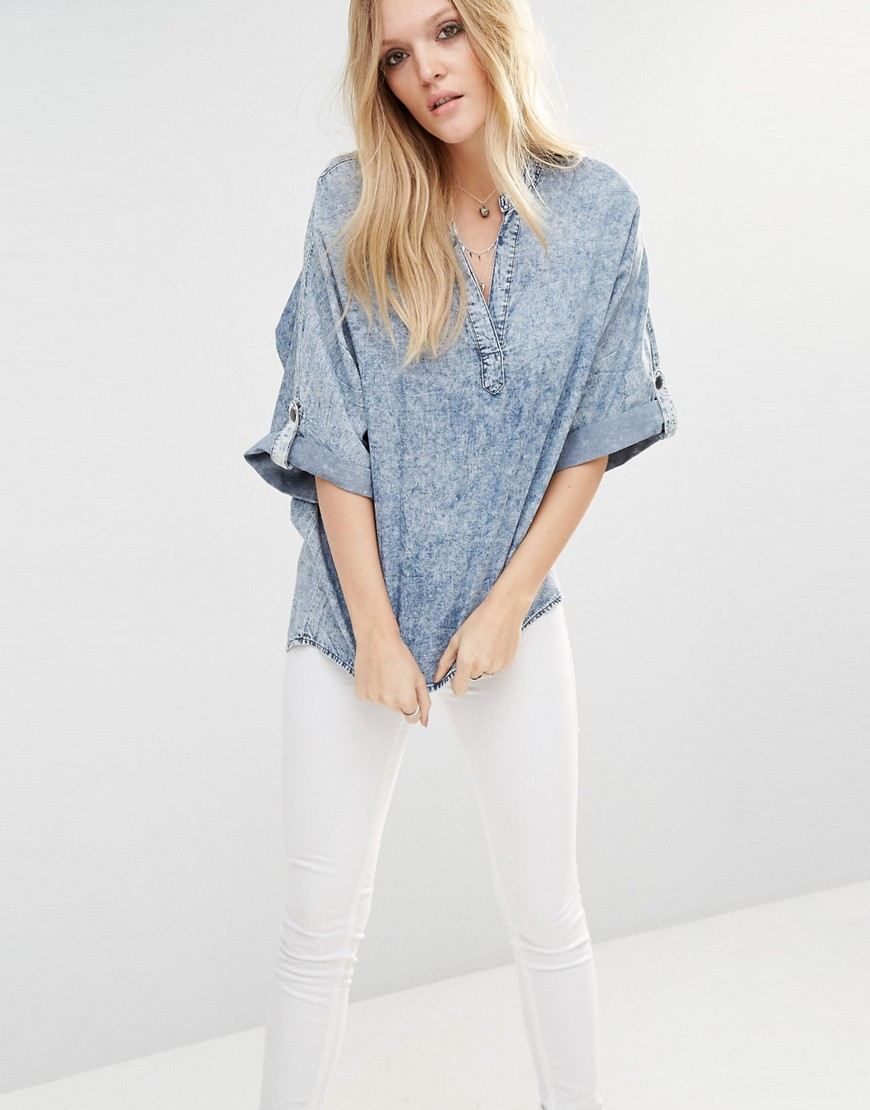 Noisy May Bleach Effect Pullover Denim Tunic 01