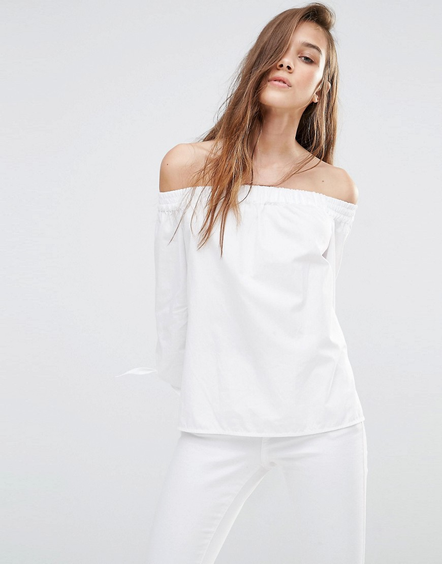 Pull&Bear Off the Shoulder Long Sleeve Blouse 01