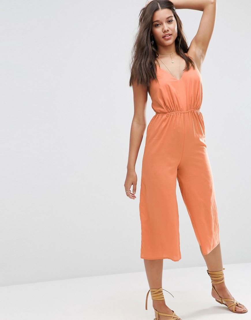 V Plunge Coulotte Beach Jumpsuit 01