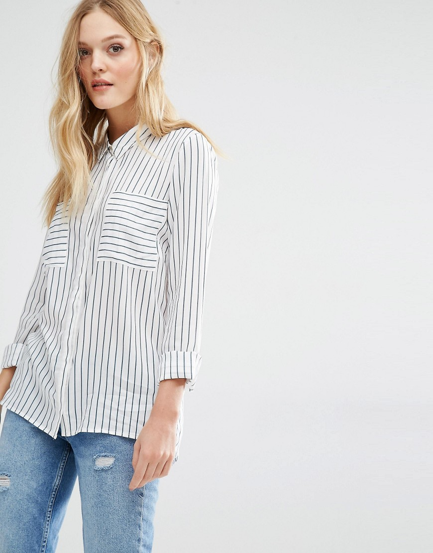 Y.A.S Fast Shirt In White Stripe 01