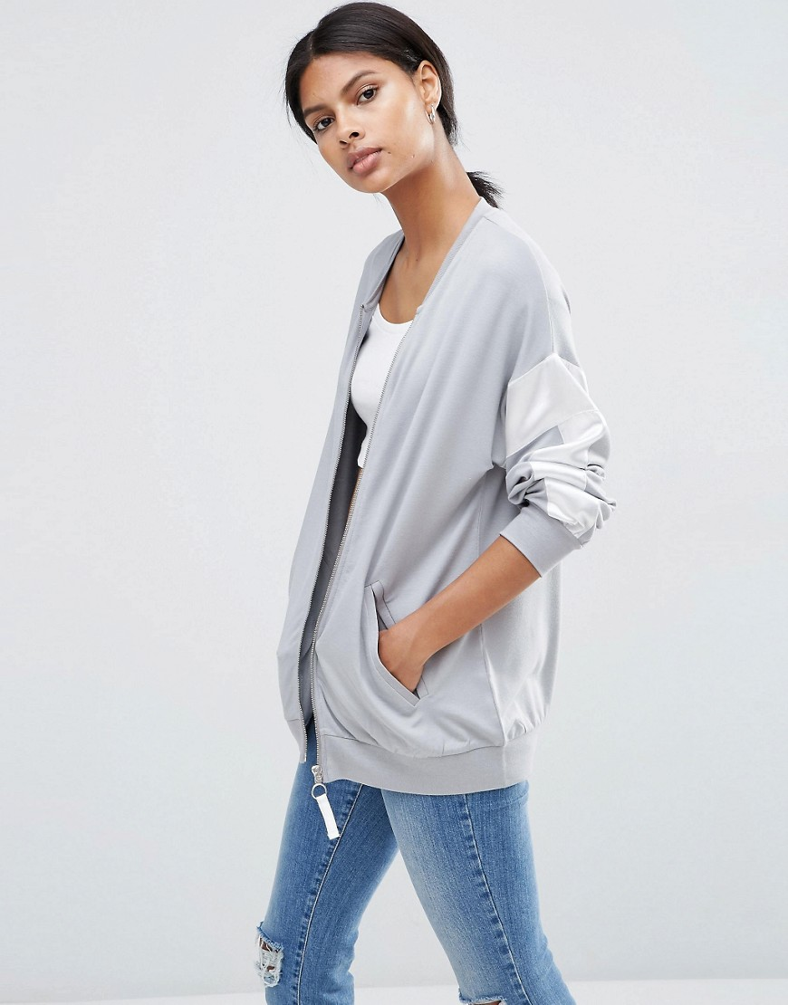 Bomber Jacket with Satin Panels in Boxy Fit Jersey 01