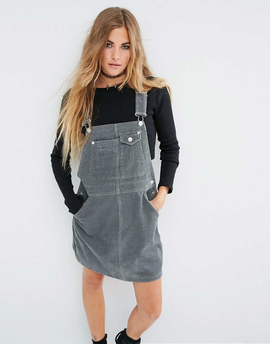 Cord Dungaree Dress In Washed Khaki Ootd