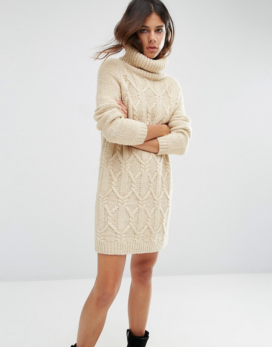 Jumper Dress in Cable Stitch with Roll Neck 01