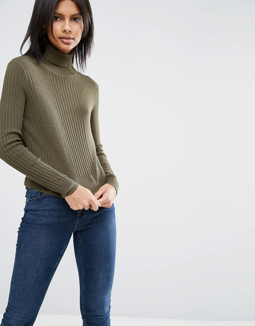 Jumper With High Neck In Rib 01