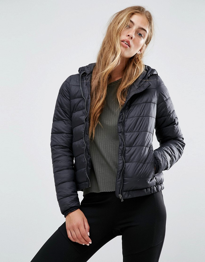 Pull&Bear Light Quilted Hooded Jacket 01