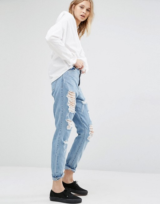 Dr Denim Mom Jeans with Distressing