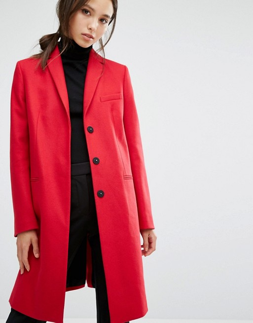French Connection Platform Tailored Coat in Red
