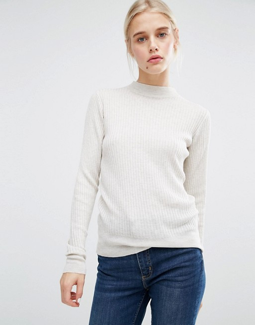 Monki Rib Knit High Neck Jumper