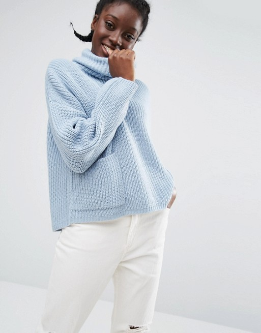 Monki Roll Neck Jumper With Pocket Detail