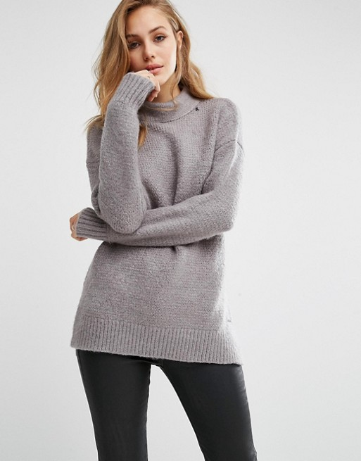 Replay High Neck Fluffy Knit Jumper