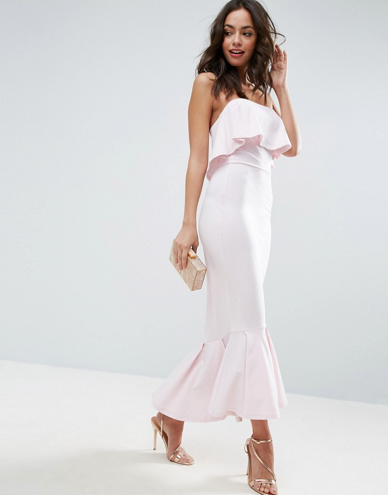 Bandeau Pephem Ruffle Top Maxi Dress