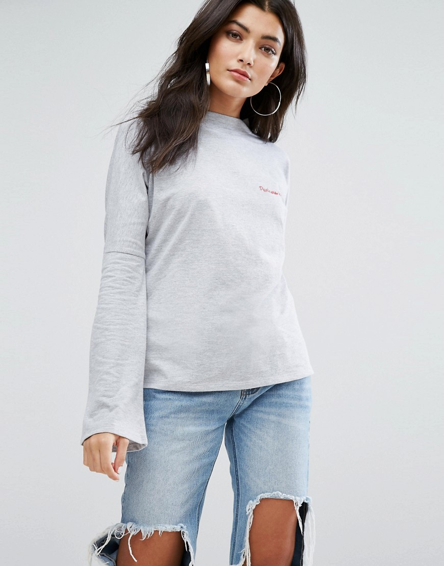 Daisy Street High Neck Lightweight Sweatshirt With Partners In Crime Embroidery