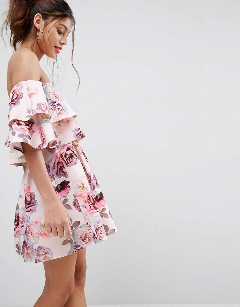 Double Ruffle Bardot Mini Skater Dress