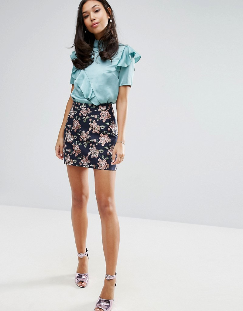 Fashion Union Mini Skirt In Jacquard Co-Ord