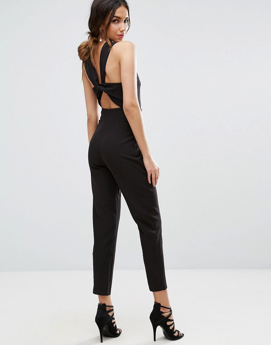 Front Jumpsuit with Twist Back and Self Tie