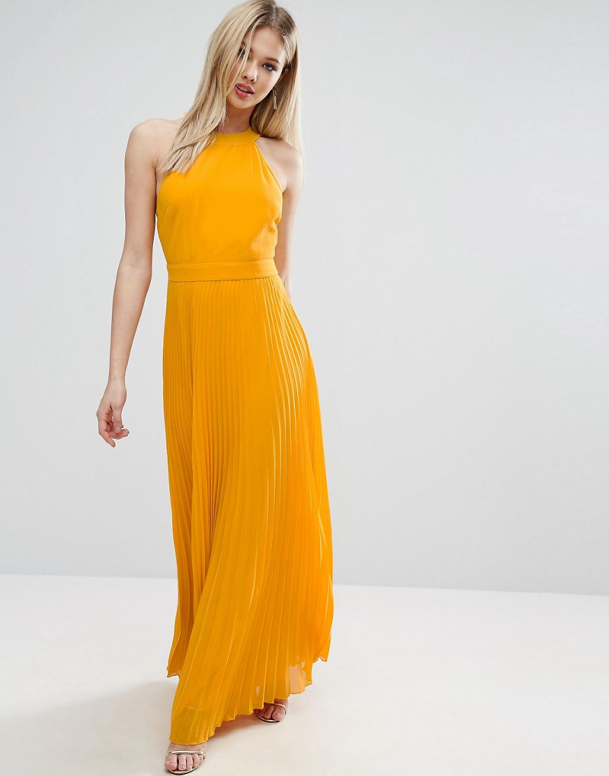 Halter Neck Pleated Maxi Dress With Open Back
