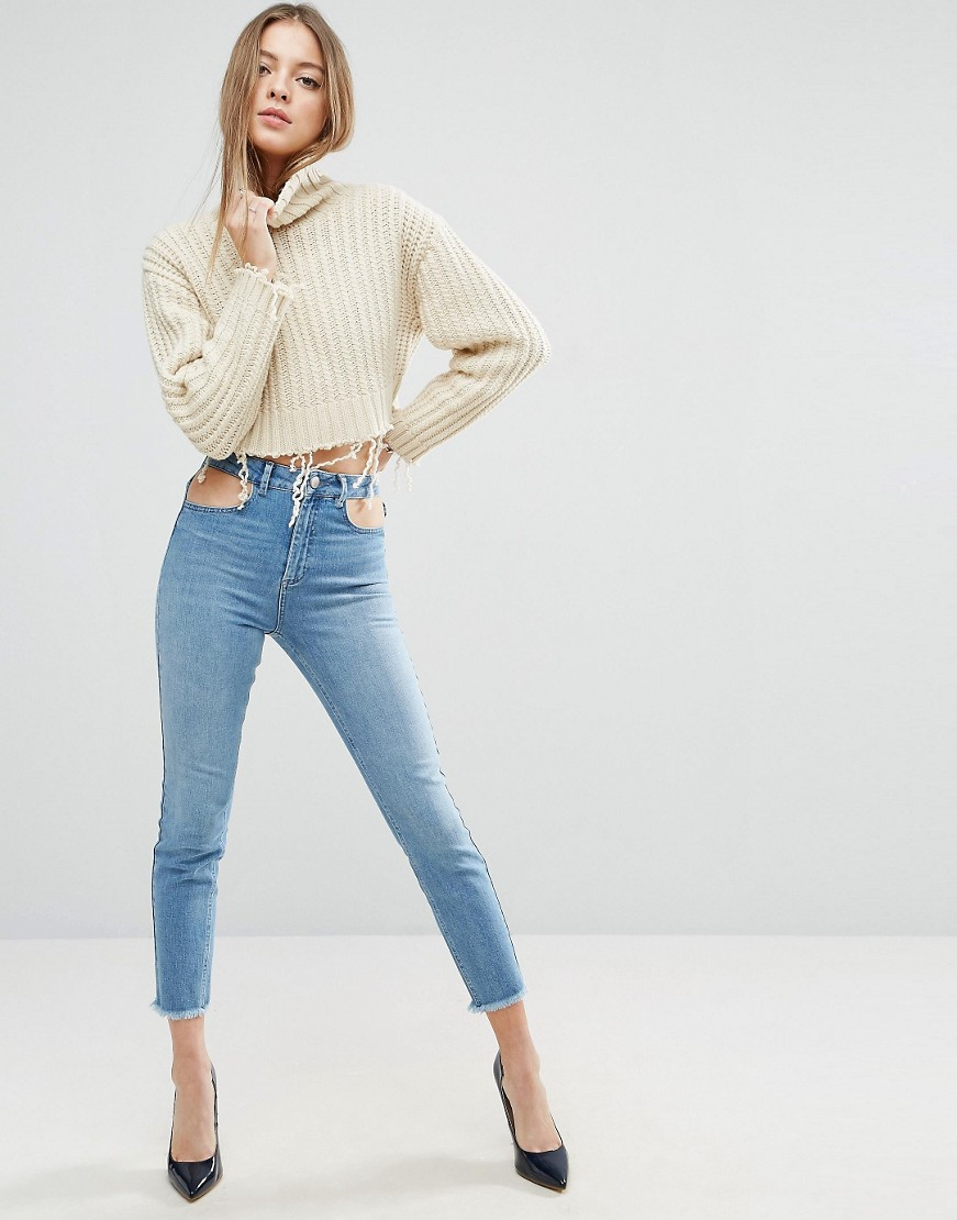 High Waist Slim Mom Jeans in Prince Mid Wash with Cut Out Details