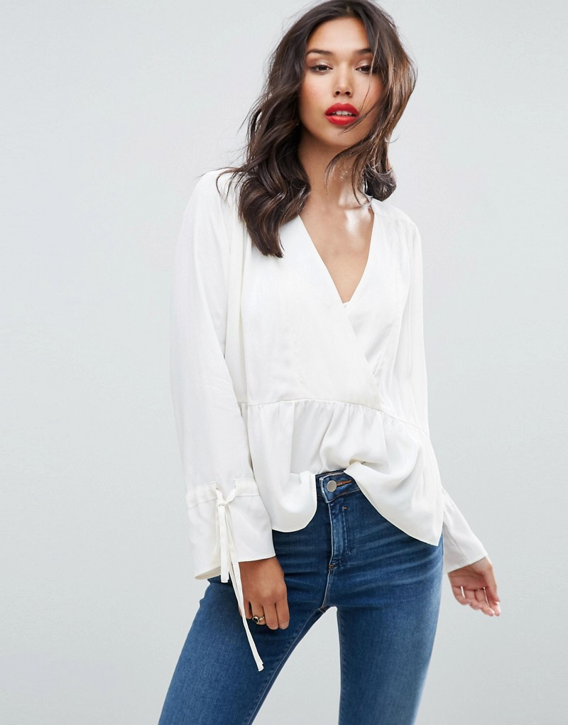 Oversized Wrap Blouse with Dip Hem