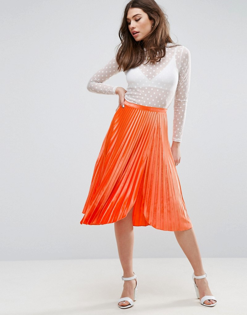 Pleated Velvet Midi Skirt with Thigh Split