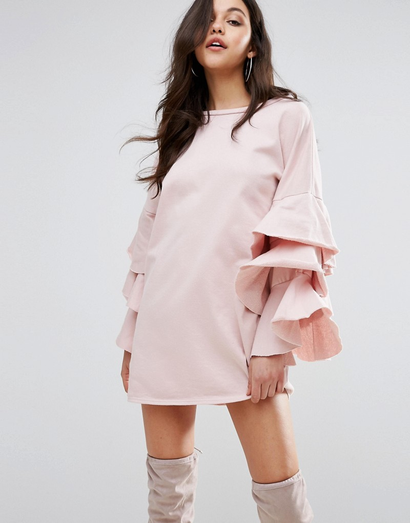 PrettyLittleThing Shift Dress With Tiered Sleeves
