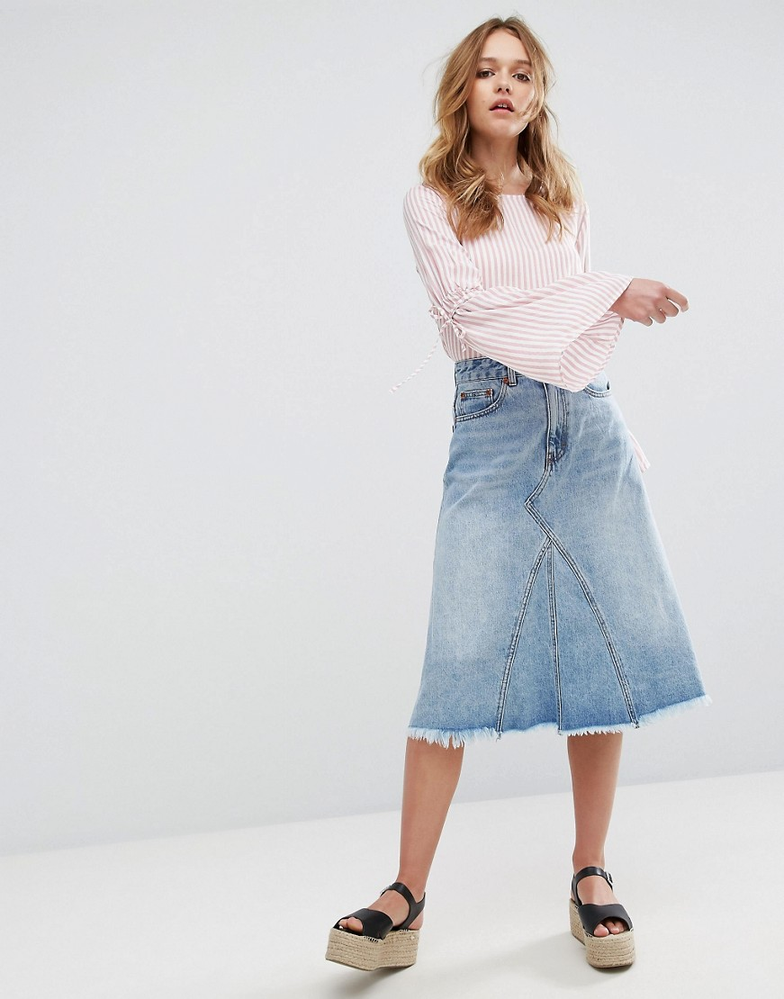 Pull&Bear Midi Asymetric Denim Skirt