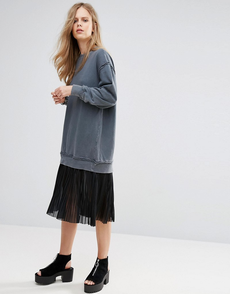Pull&Bear Pleat Detail Bottom Sweat Dress