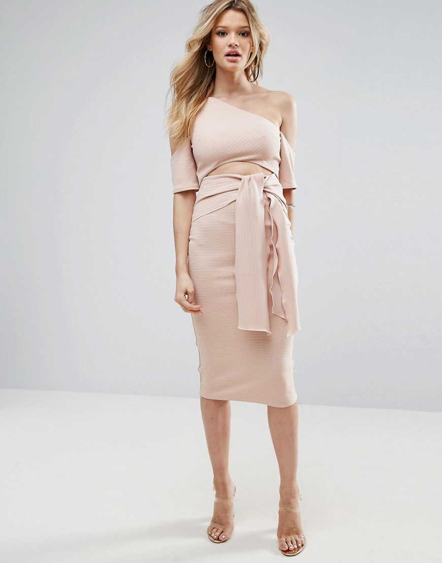 Ribbed Cut Out Tie Front Midi Dress