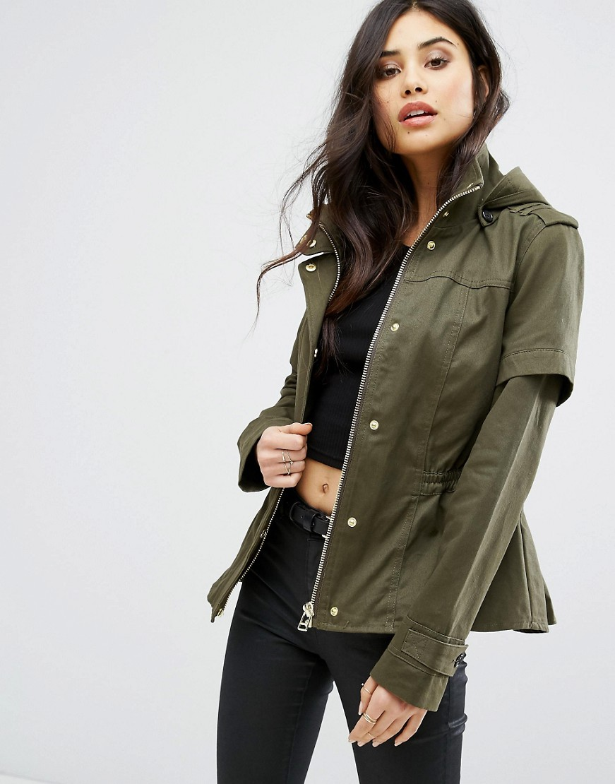 River Island Studio Cropped Utility Jacket With Hood